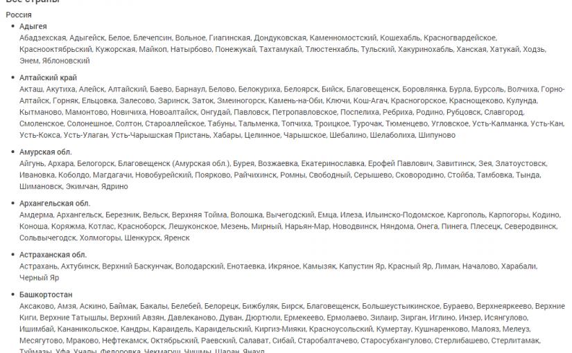 Выводим весь список стран, регионов, городов – Boxcode 10.1